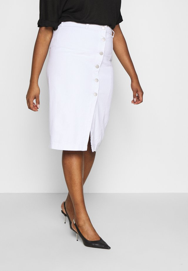 BUTTON DETAIL SKIRT - Pencil skirt - off white