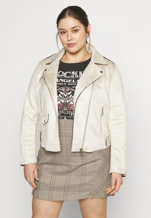 CARSHERRY BONDED BIKER - Faux leather jacket - oatmeal