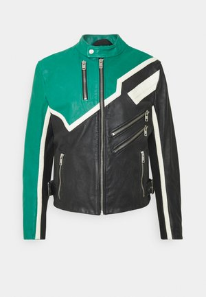 PARKS JACKET - Leather jacket - black/green/white