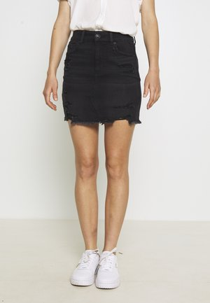 CURVY SKIRT - Falda vaquera - destroyed black