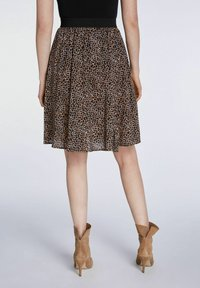 SET - A-line skirt - dark brown camel - 2