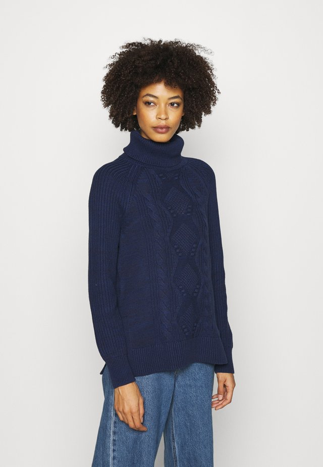 CABLE TURTLENECK - Sweter - navy marl