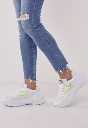 GALAXY - Sneakers - white/neon yellow