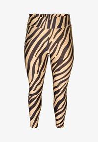 Zizzi - ZEBRA - Leggings - Trousers - beige - 2