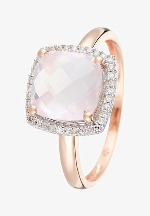 9K ROSE GOLD RING CERTIFIED PINK QUARTZ 2.7 CTS AND 36 DIAMONDS HP1 0.12 CT - Ring - pink
