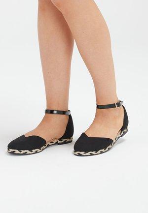 BLACK ESPADRILLE TWO PART SHOES - Ankle strap ballet pumps - black