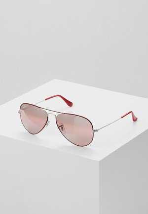 AVIATOR - Zonnebril - silver-coloured/bordeaux