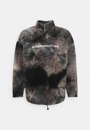 TIE DYE BORG ZIP THROUGH - Flisinis džemperis - black
