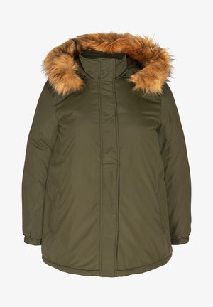 MIT KUNSTPELZKRAGEN - Winter jacket - dark green