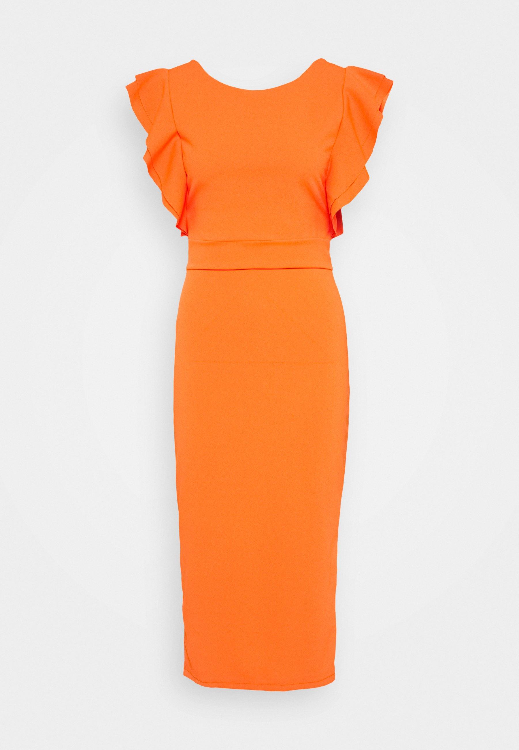 ROUND NECK MIDI DRESS - Cocktailkleid/festliches Kleid - orange