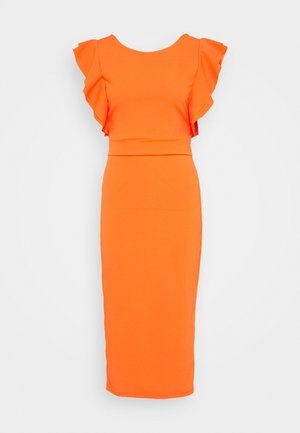 ROUND NECK MIDI DRESS - Cocktail dress / Party dress - orange