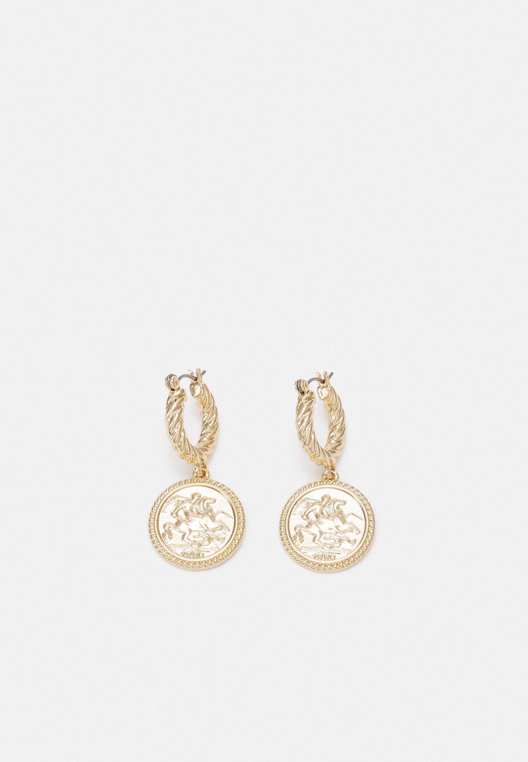Women MINI TWIST HOOP WITH COIN DETAIL - Earrings