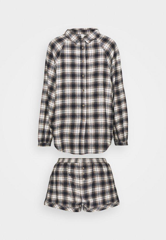WARM BED SHIRT AND SHORT  - Pyjama - navy