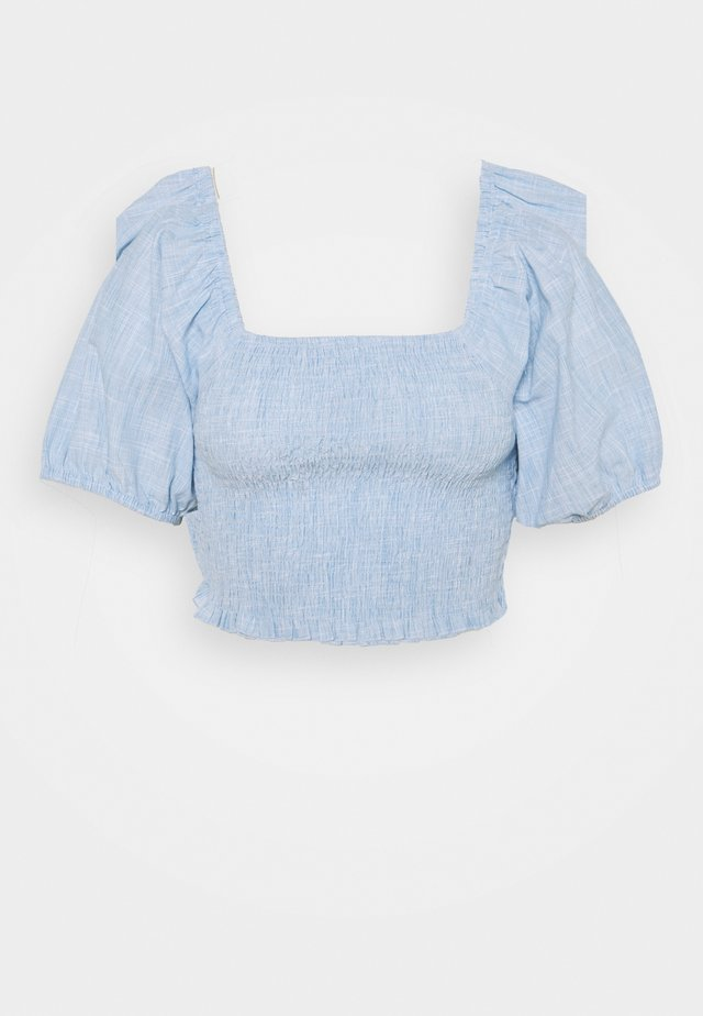 SHIRRED BARDOT CHAMBRAY - Camicetta - blue