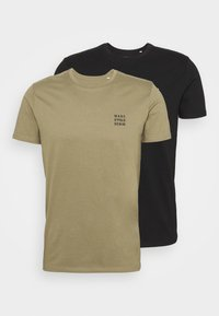 Marc O'Polo DENIM - SMALL CHEST  LOGO 2 PACK - Basic T-shirt - black / olive - 0