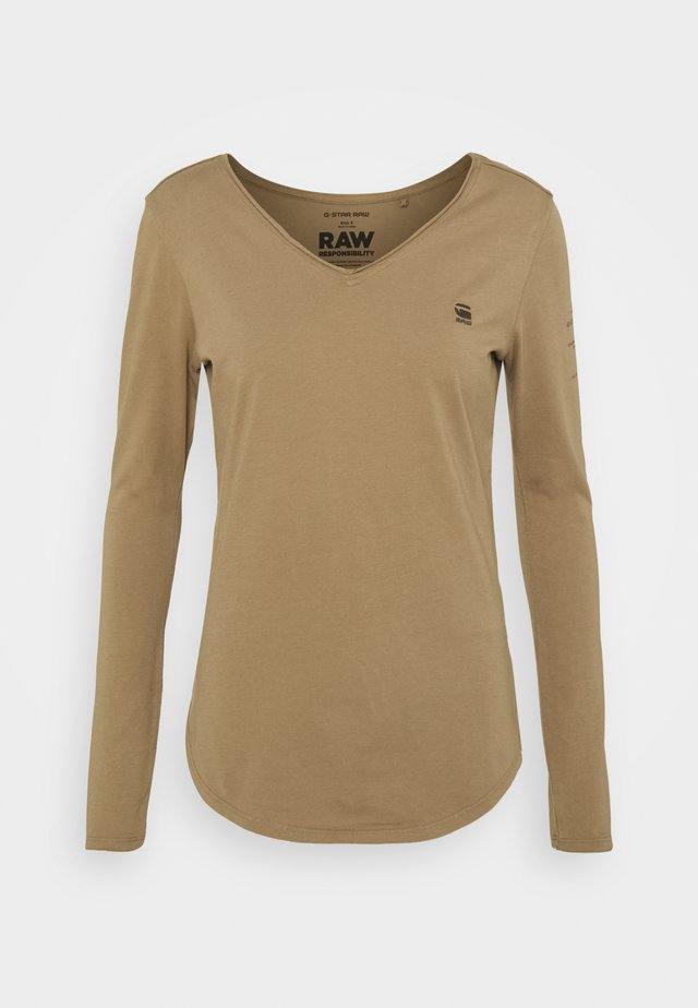 ROLLED EDGE V NECK LONGSLEEVE - Maglietta a manica lunga - safari