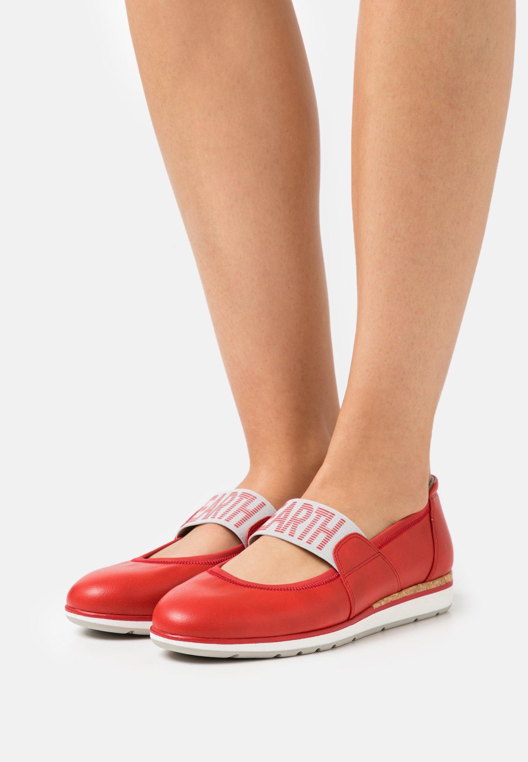 Women Ankle strap ballet pumps - red