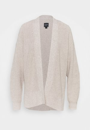 SHAKER SIDE SPLIT OPEN CARDI - Kardigan - toasted almond