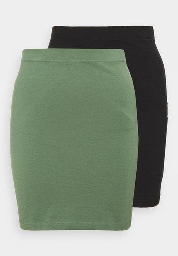 2 PACK - Mini skirt - khaki/black