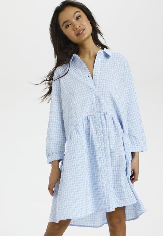 Skjortekjole - light blue check