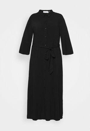 KIMONO SLEEVE BELTED MIDI DRESS - Shirt dress - black