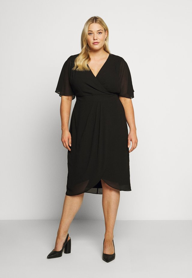 TORI SLEEVED WRAP OVER DRESS - Korte jurk - black