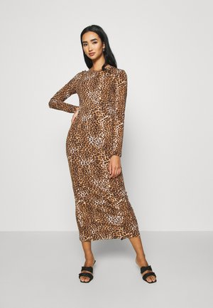 LONG SLEEVE DRESS - Maxi dress - black/beige