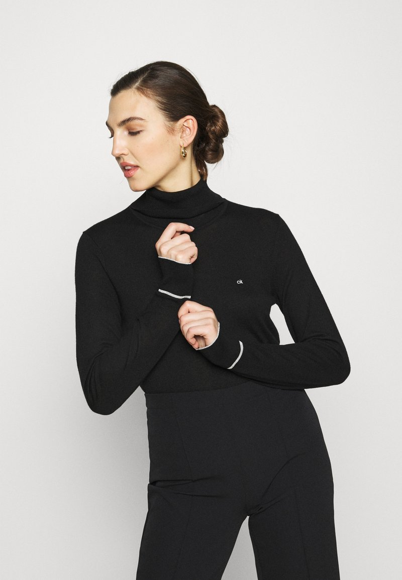 Calvin Klein - ROLL NECK - Strikkegenser - black