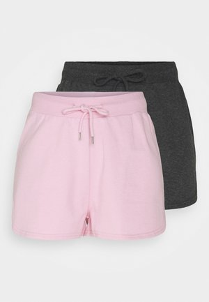2 Pack sweat shorts - Shorts - mottled dark grey/pink