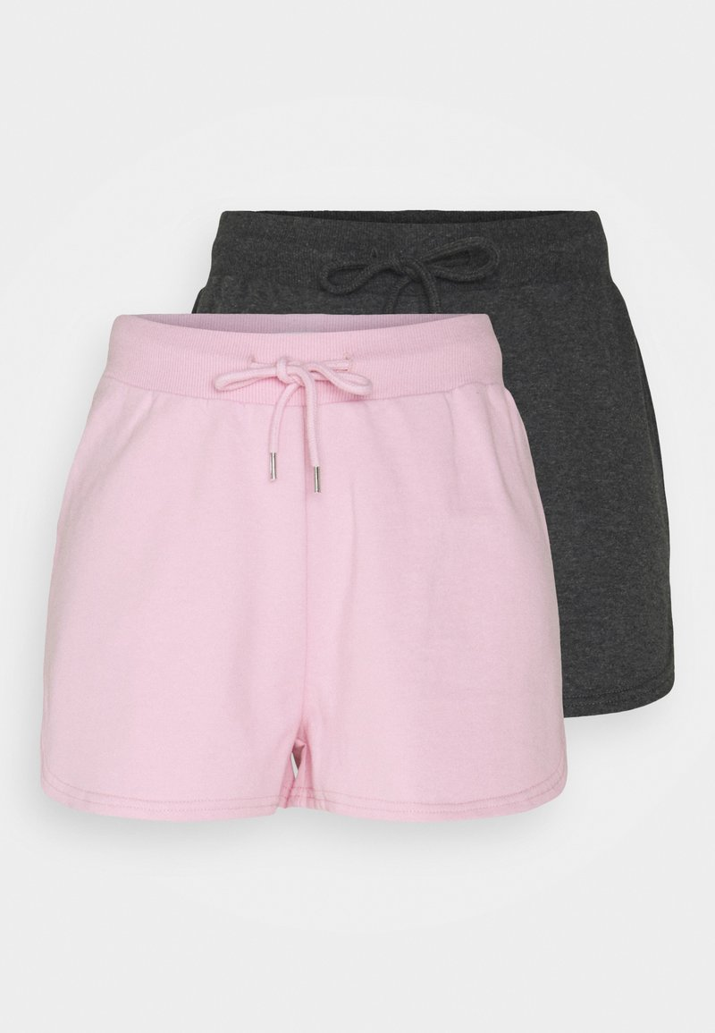 Even&Odd - 2 Pack sweat shorts - Shorts - mottled dark grey/pink