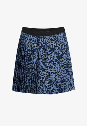 PLISSÉ MET LUIPAARDDESSIN - Pleated skirt - blue