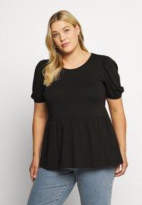 ONLY Carmakoma - CARANNI PUFF - Print T-shirt - black - 0