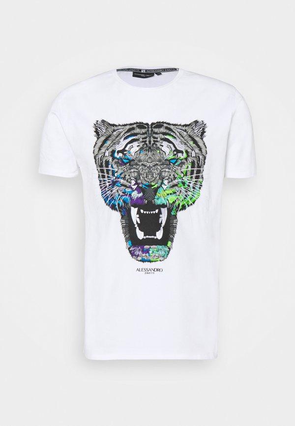 Alessandro Zavetti GROWLER TEE - T-shirt z nadrukiem - purple/white/biały Odzież Męska UJWQ