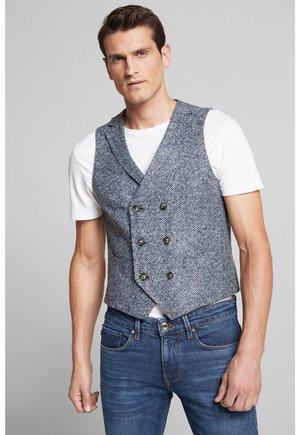 Suit waistcoat - navy/hellgrau