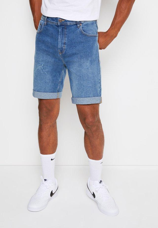 LIGHT DESTROY - Denim shorts - sicily blue