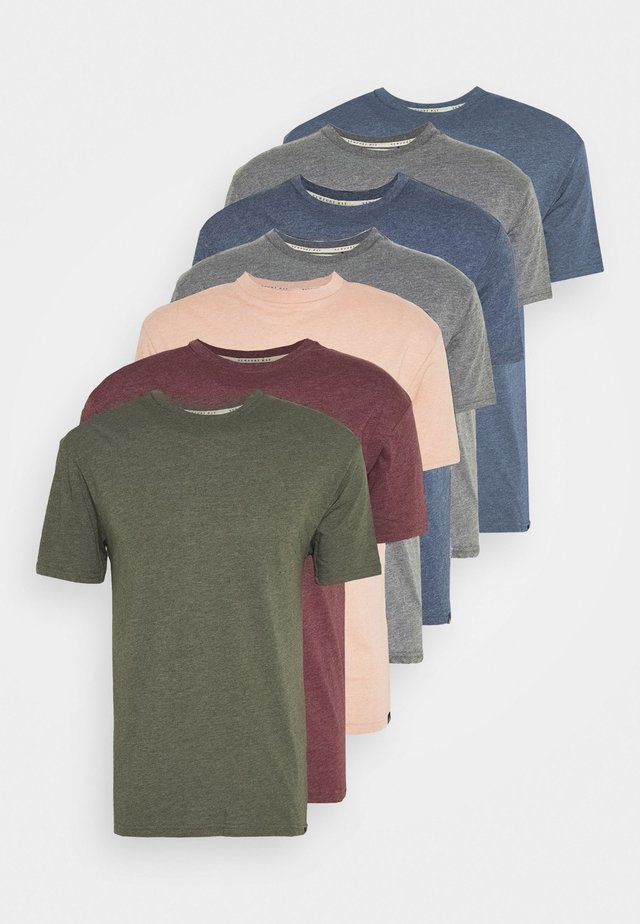 MULTI TEE MARLS 7 PACK - T-shirt - bas - dark blue/dark grey/bordeaux/tan/dark olive