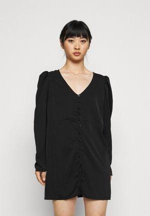 BUTTON THROUGH PUFF SLEEVE DRESS - Kjole - black