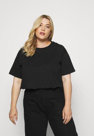 RAW HEM CROPPED OVERSIZED - Basic T-shirt - black