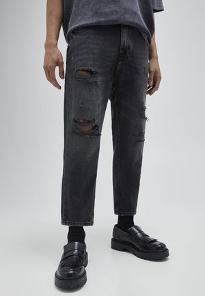 Relaxed fit jeans - mottled dark grey