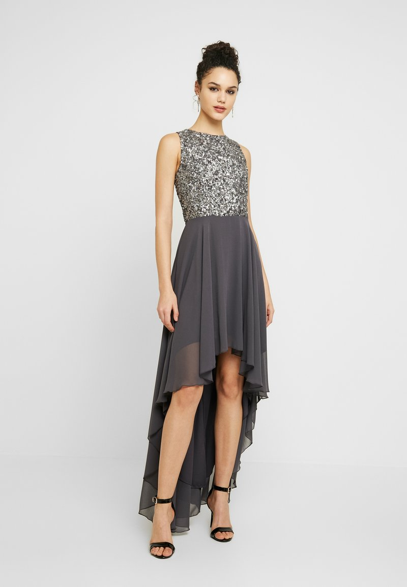 Lace & Beads - HANKERCHIEF HIGH LOW DRESS - Robe de cocktail - charcoal