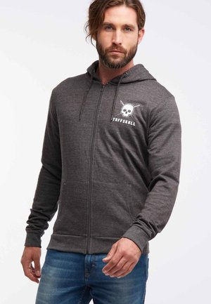 Zip-up hoodie - mottled dark grey