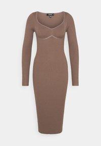 Missguided - SWEETHEART BUST DETAIL MIDAXI DRESS - Shift dress - mocha - 0