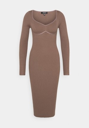 SWEETHEART BUST DETAIL MIDAXI DRESS - Tubino - mocha