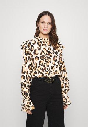 LEO FRILL BLOUSE - Long sleeved top - beige/black/brown