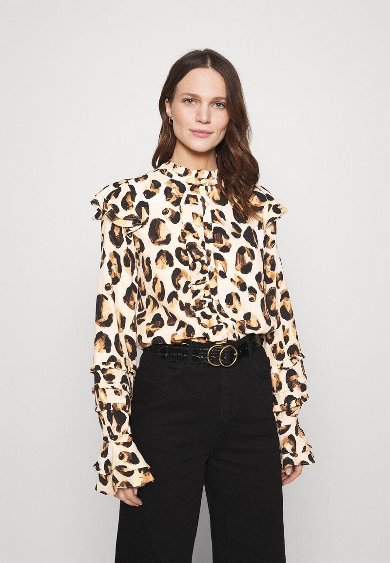 Fabienne Chapot - LEO FRILL BLOUSE - Long sleeved top - beige/black/brown