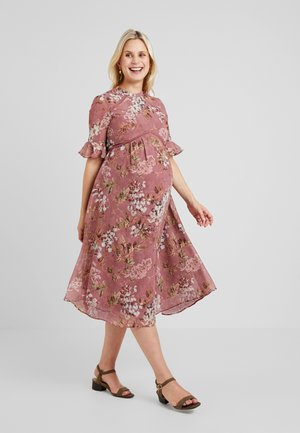 FLUTED SLEEVE SKATER DRESS - Denní šaty - pink