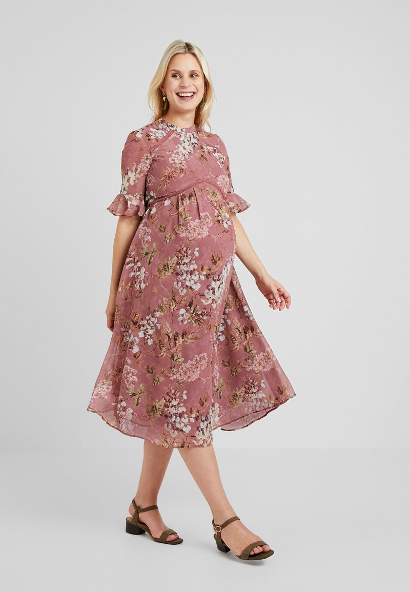 Hope & Ivy Maternity - FLUTED SLEEVE SKATER DRESS - Denní šaty - pink