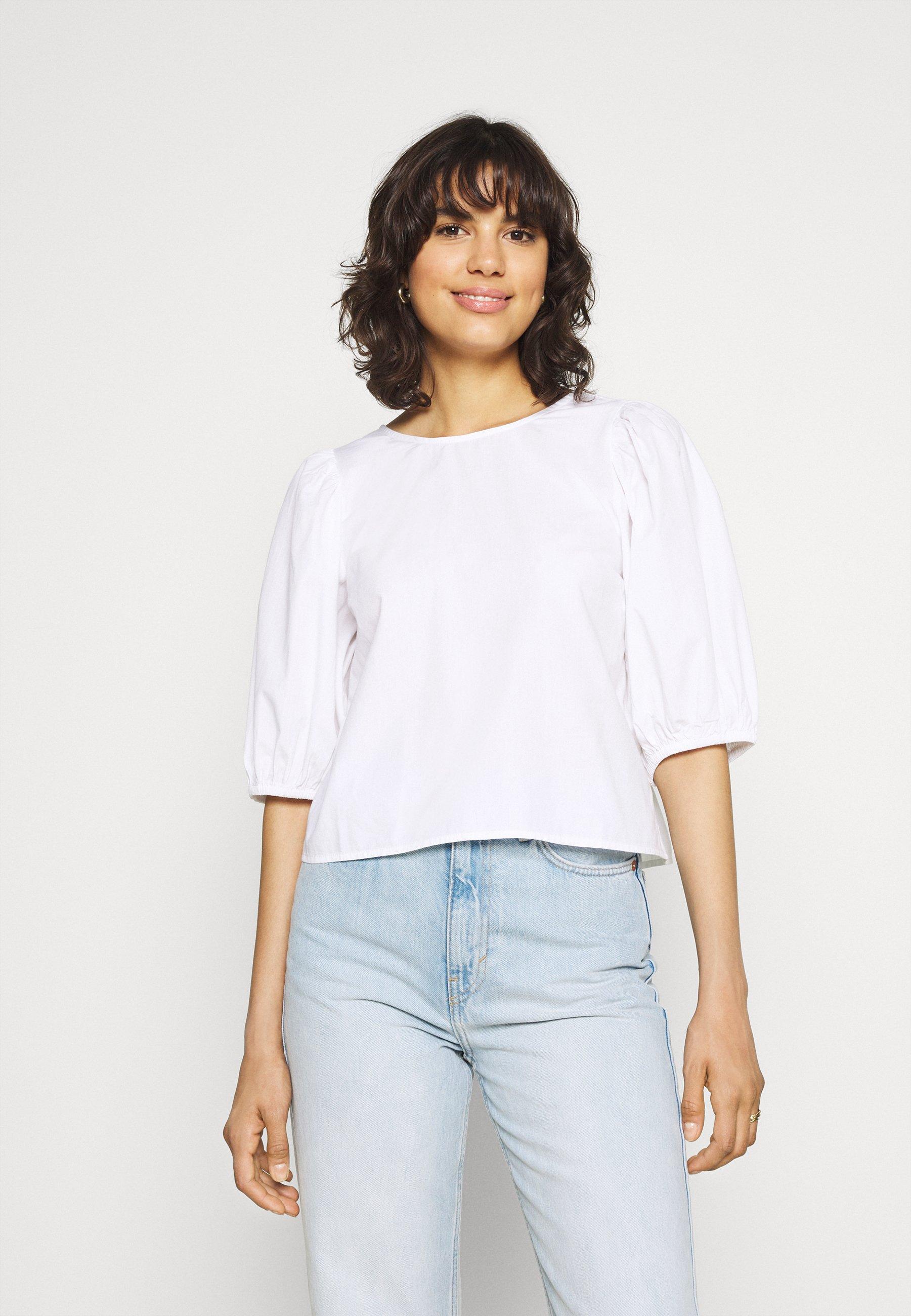 Femme SARA OPEN BACK BLOUSE - T-shirt imprimé - white