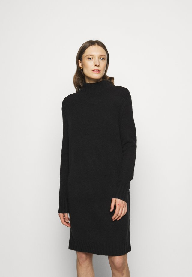 MOCKNECK SWEATER DRESS - Strickkleid - black
