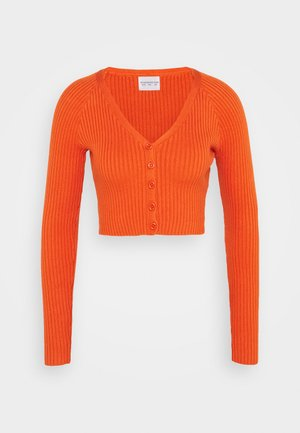 CARE RIBBED CROP CARDIGAN WITH LONG SLEEVES AND V-NECK - Pullover - rust